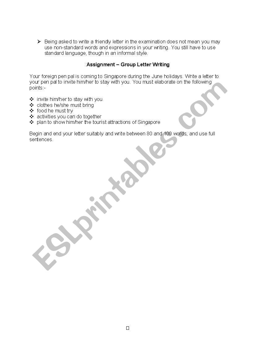 Informal Letter Notes And Activities  Esl Worksheet By Wendysunshine