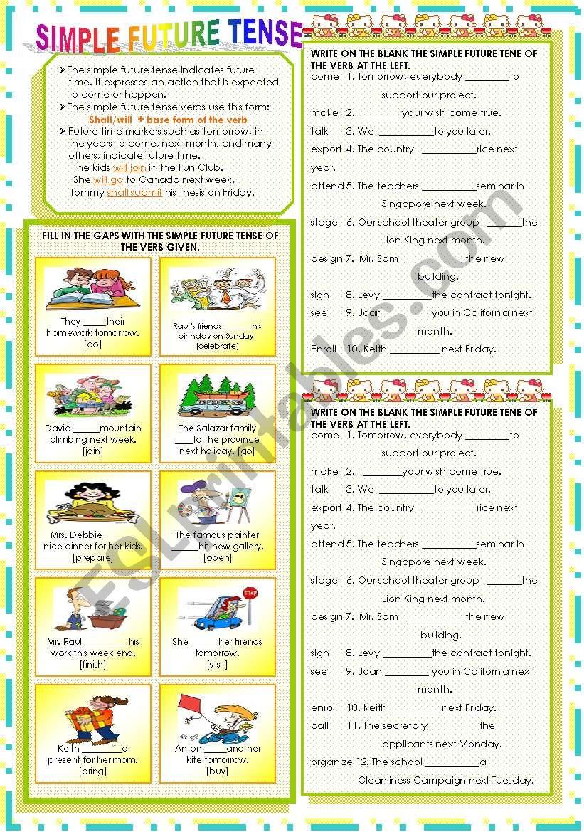 SIMPLE FUTURE TENSE worksheet