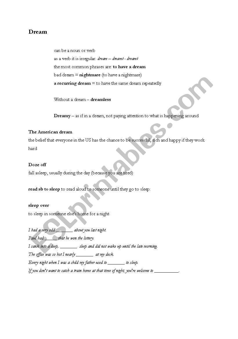 Dreaming - ESL worksheet by blackat