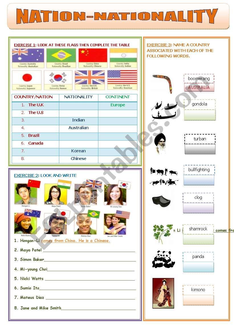 NATION - NATIONALITY  worksheet