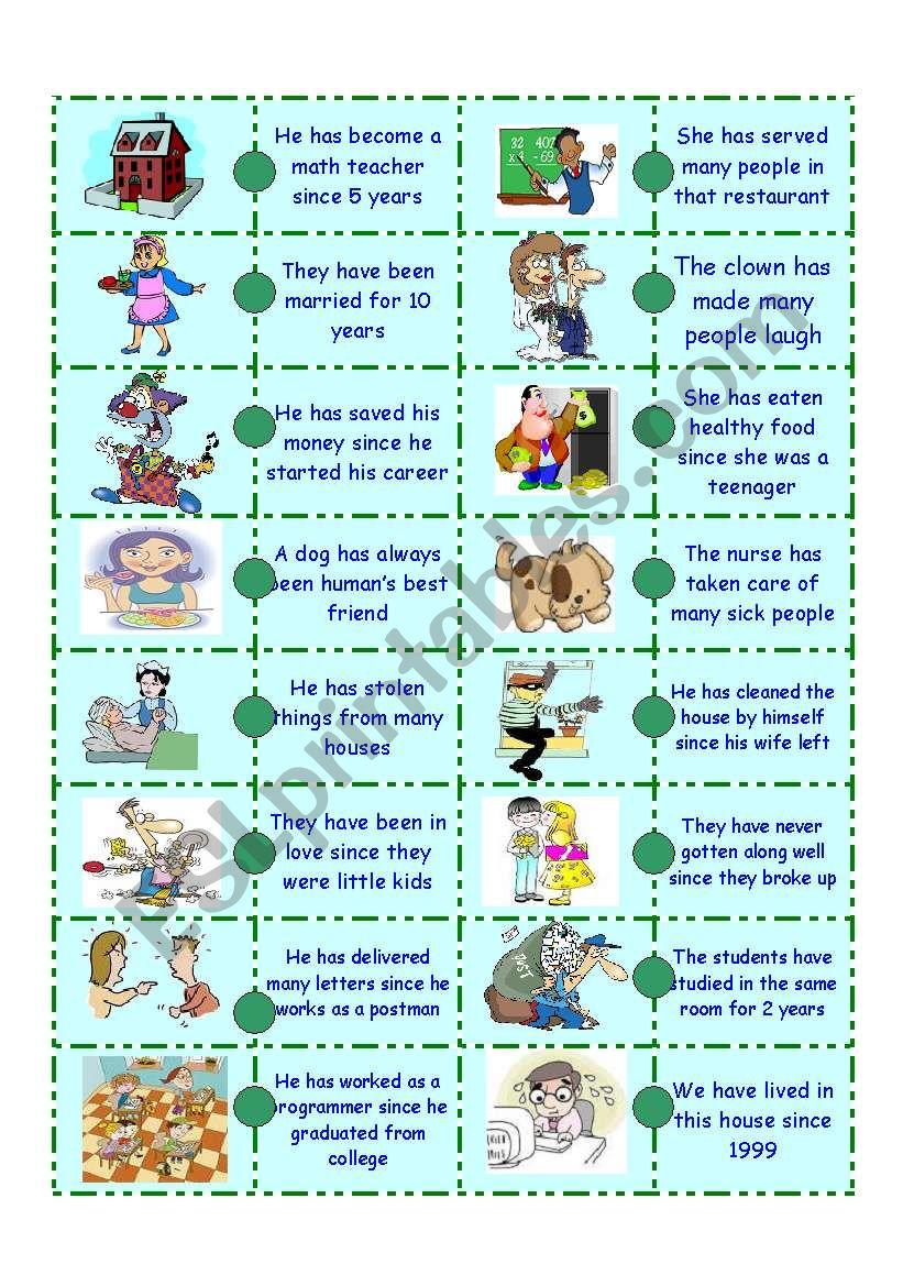 Present Perfect Domino - ESL worksheet by linggarjati