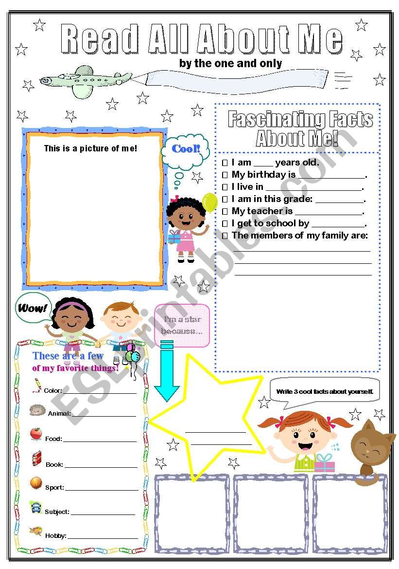 All about me poster worksheet