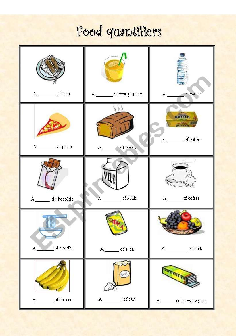 Food quantifiers and containers