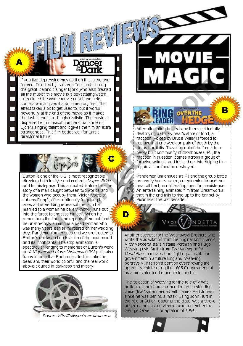MOVIE REVIEWS - READING worksheet