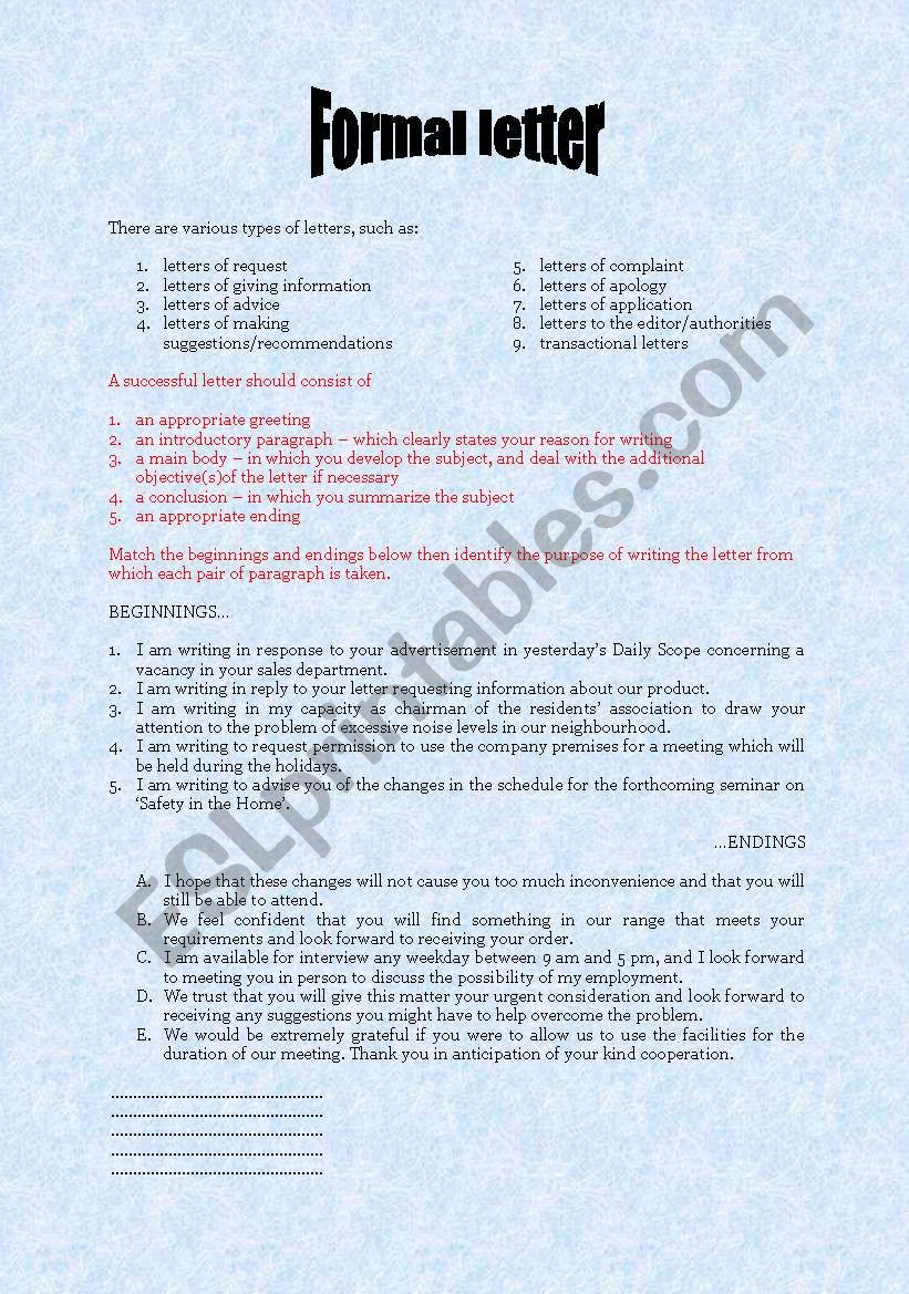 formal business letter format formal letter giving information