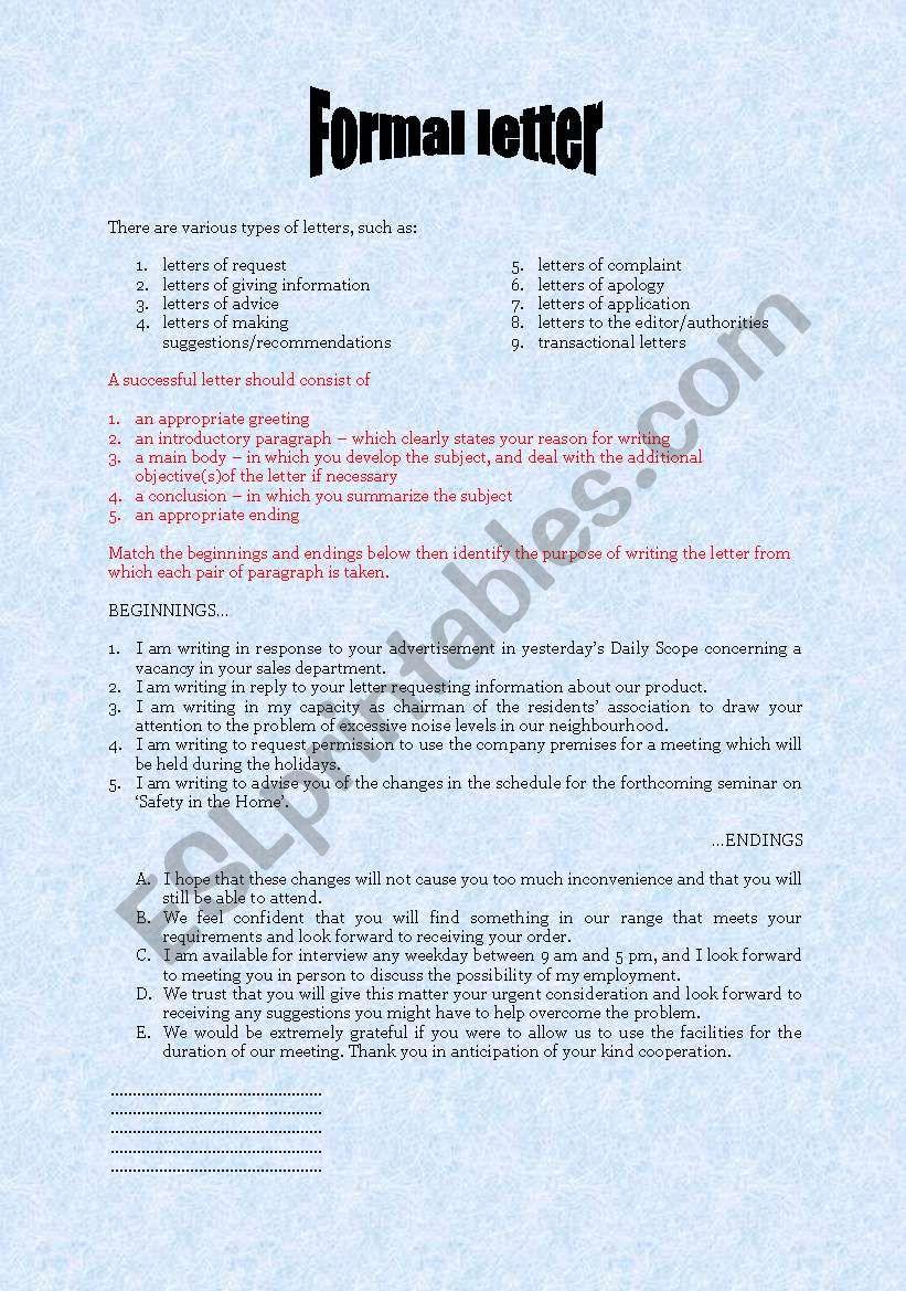 formal business letter format formal letter giving information