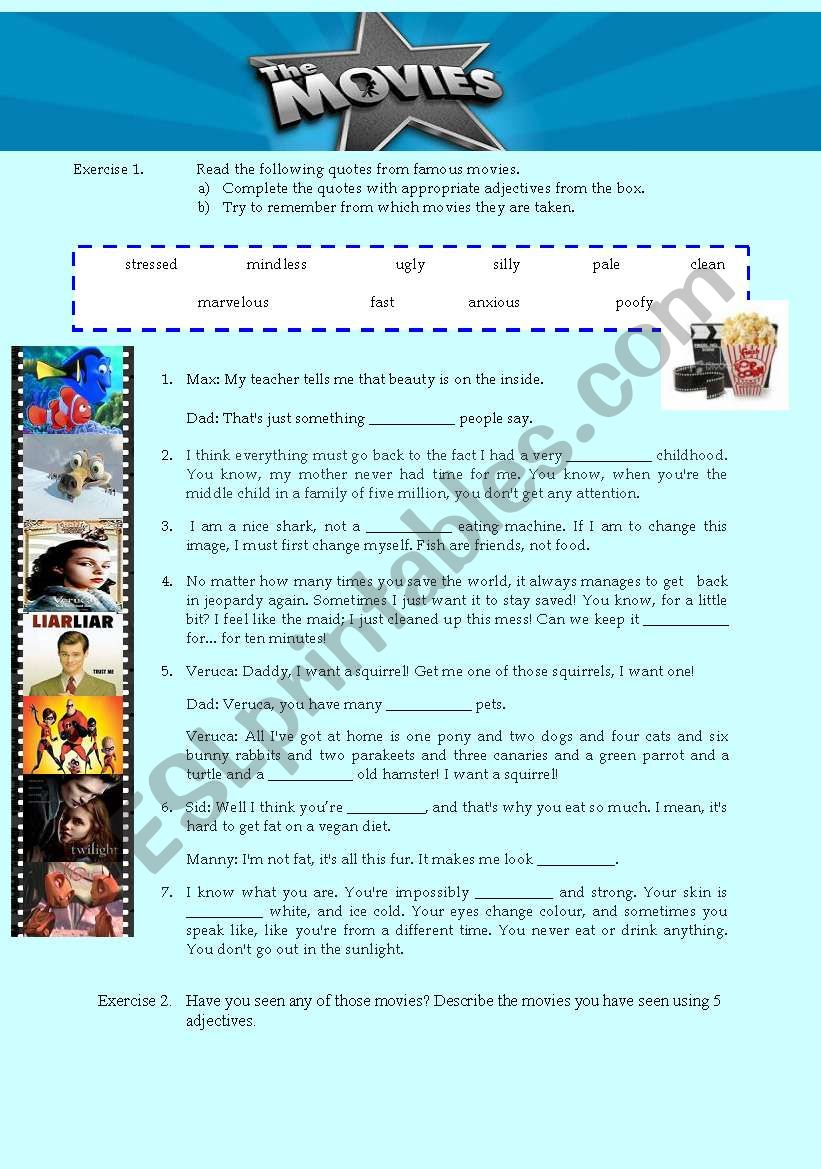 Funny Movie Quotes worksheet