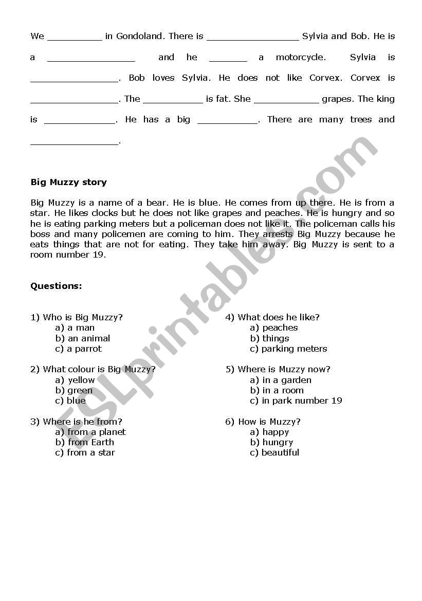 Gondoland - Big Muzzy worksheet