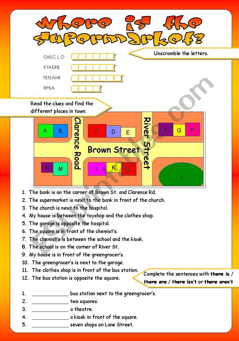 places in town prepositions of place esl worksheet by tricia973. Black Bedroom Furniture Sets. Home Design Ideas