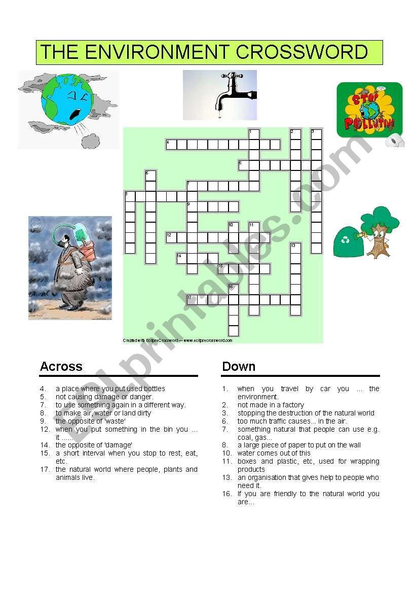 english worksheets the environment crossword. Black Bedroom Furniture Sets. Home Design Ideas