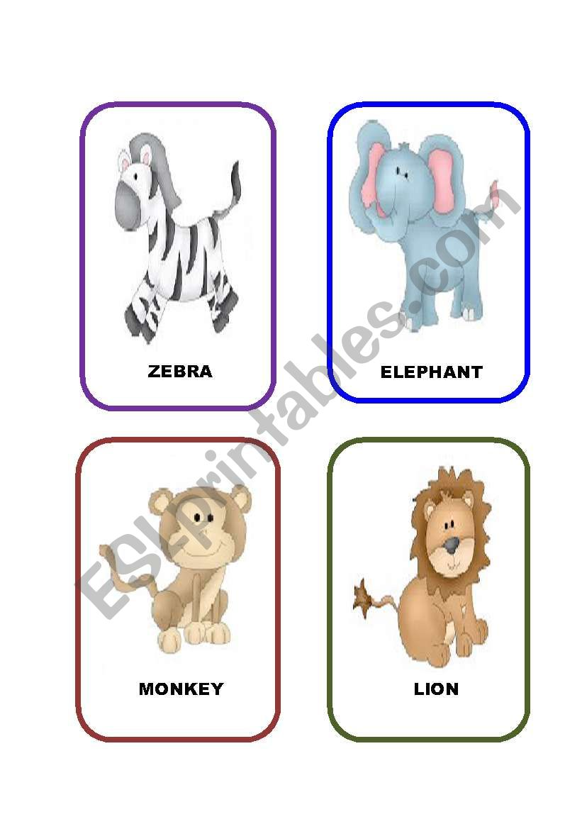 Jungle Animals Flashcards Esl Worksheet By Anism