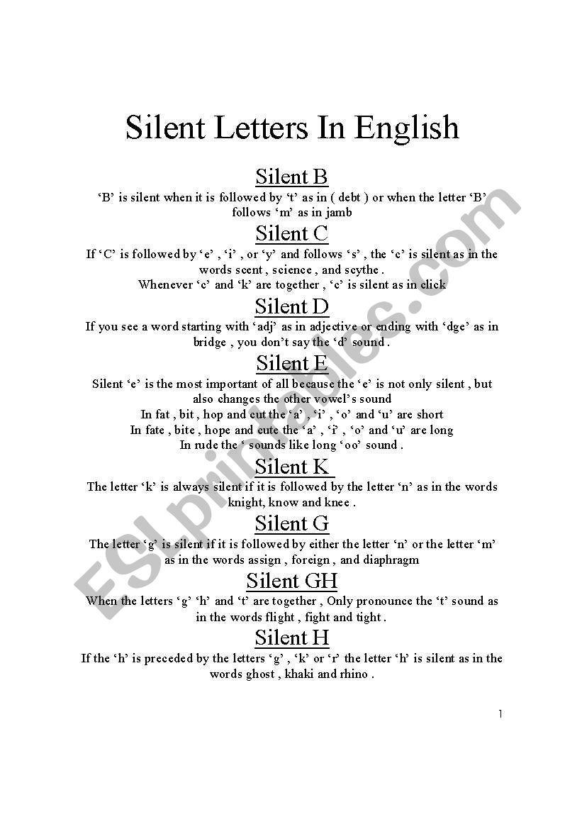 silent letters in english esl worksheet by joerod1961. Black Bedroom Furniture Sets. Home Design Ideas