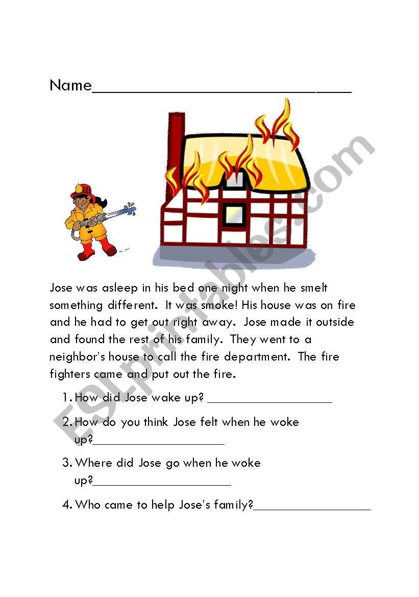 The Fire worksheet
