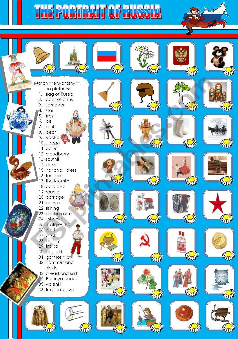 THE PORTRAIT OF RUSSIA worksheet