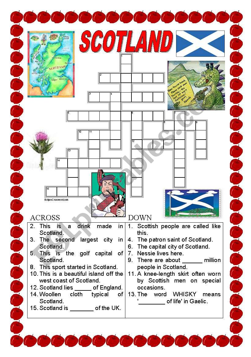 Scotland - crossword worksheet