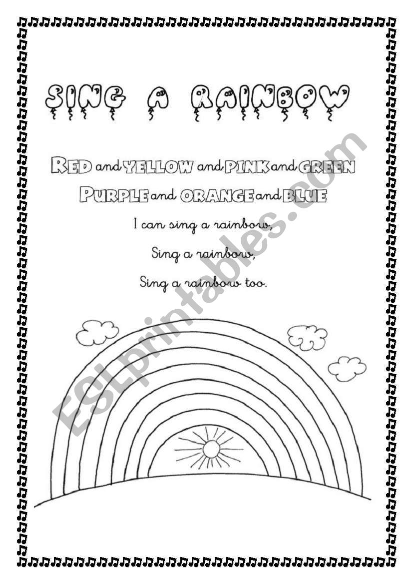 Sing a rainbow worksheet