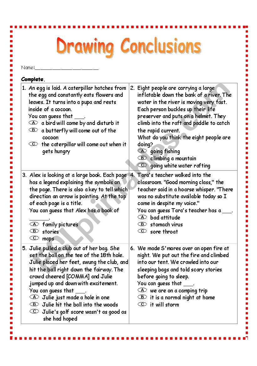 Drawing Conclusions Worksheet 2 Esl Worksheet By