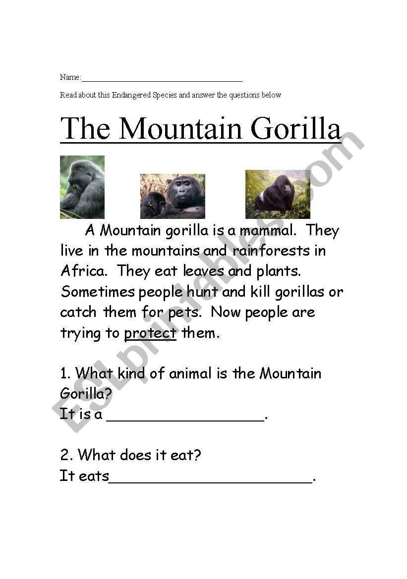 - English Worksheets: Endangered Species Easy Reading Comprehension