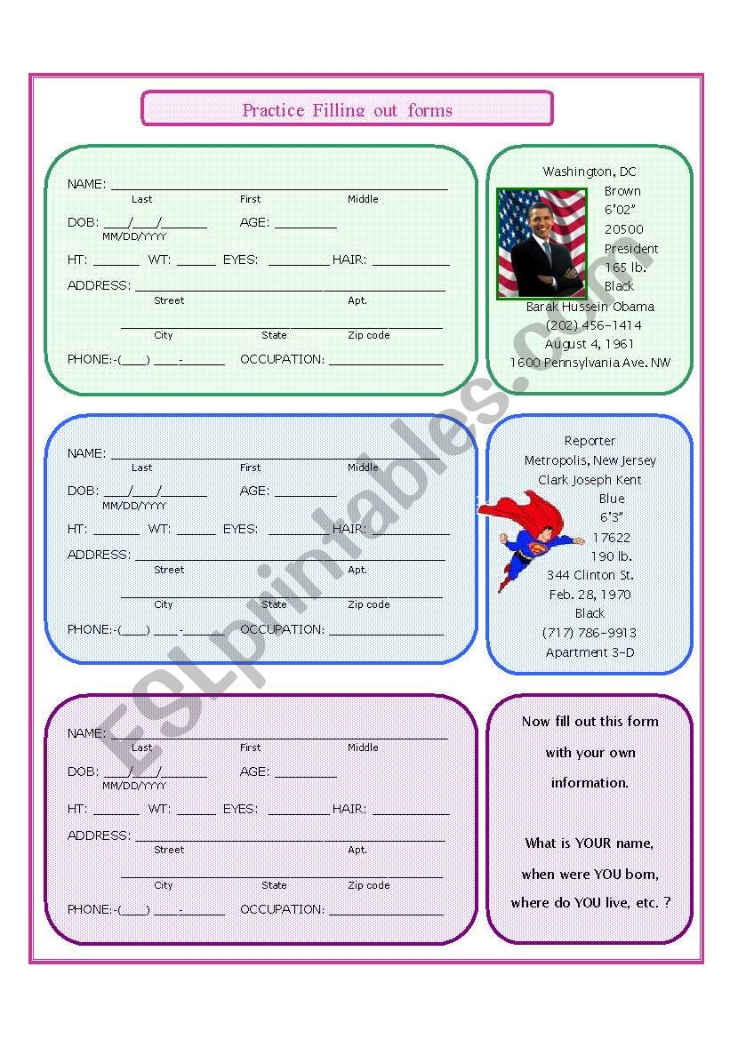 practice filling out forms
