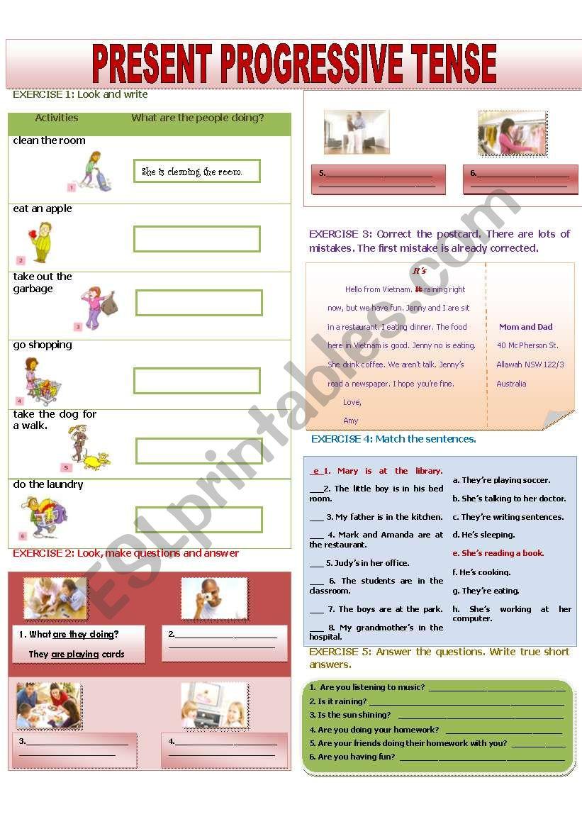 PRESENT PROGRESSIVE TENSE worksheet