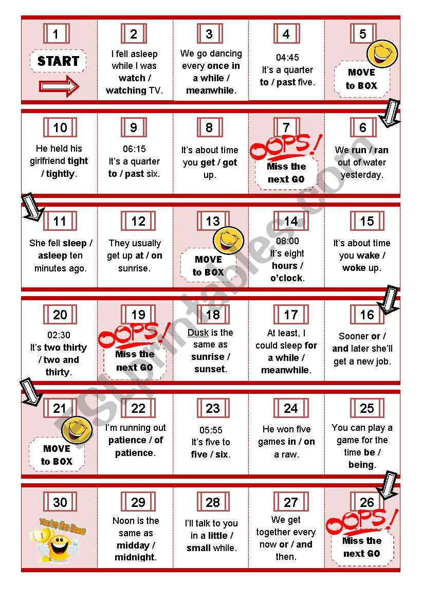 From time to Time Boardgame worksheet