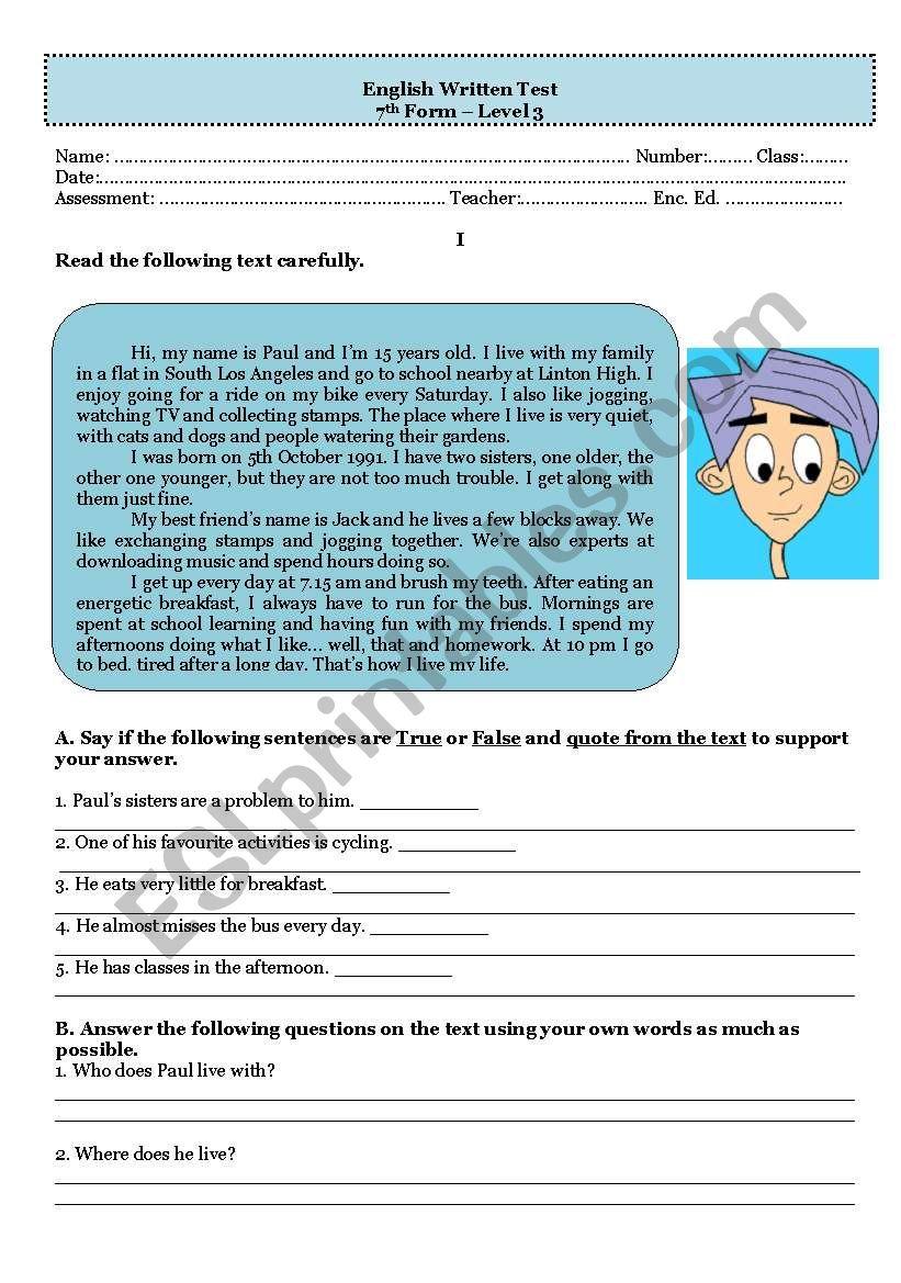 Test - who am I worksheet