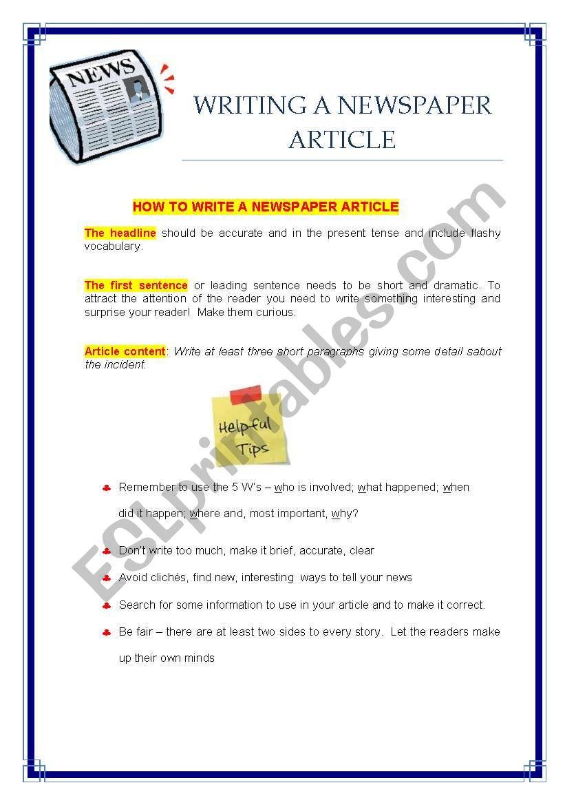 writing a newspaper article - ESL worksheet by Hülya Bilgiç