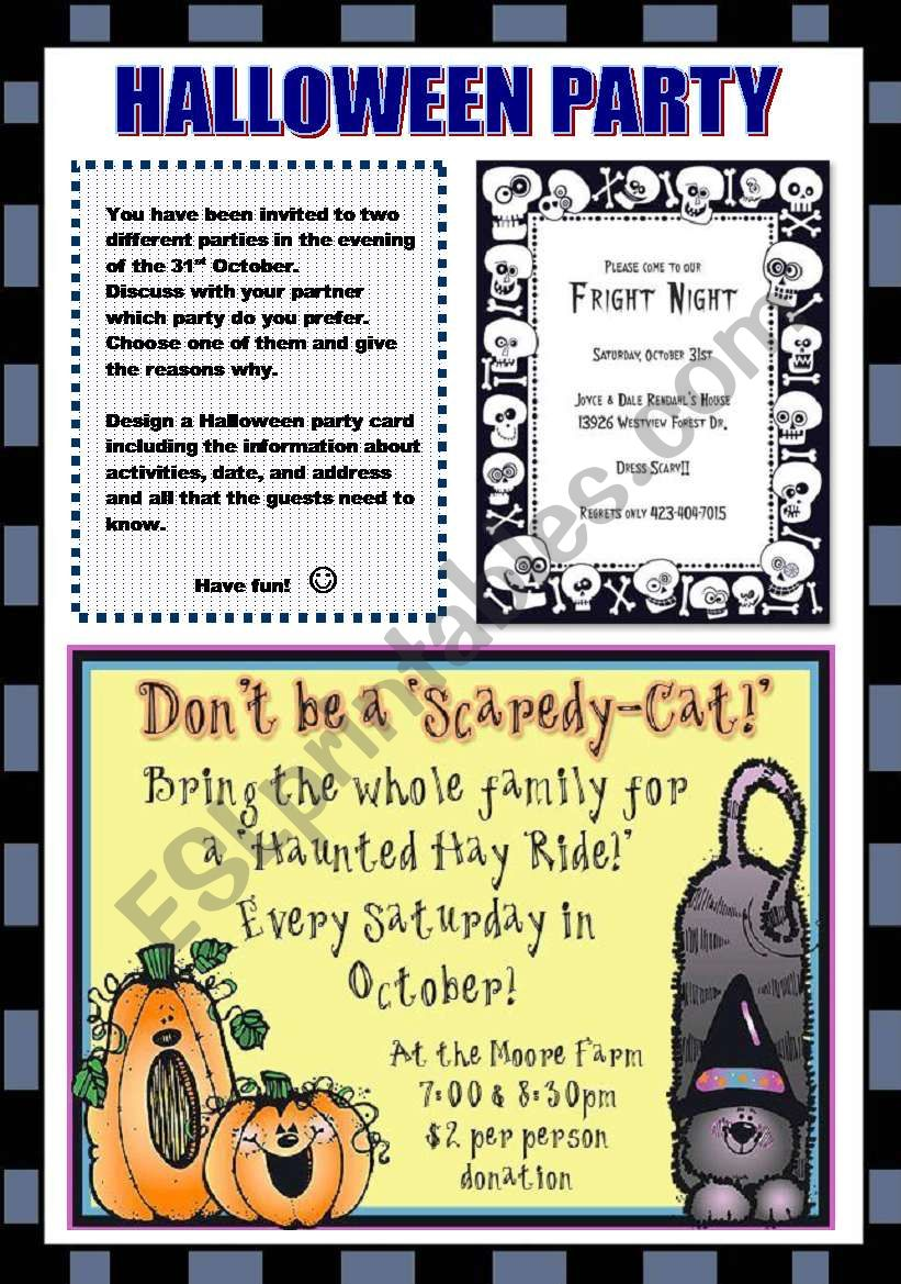 HALLOWEEN PARTY (2 PAGES) worksheet