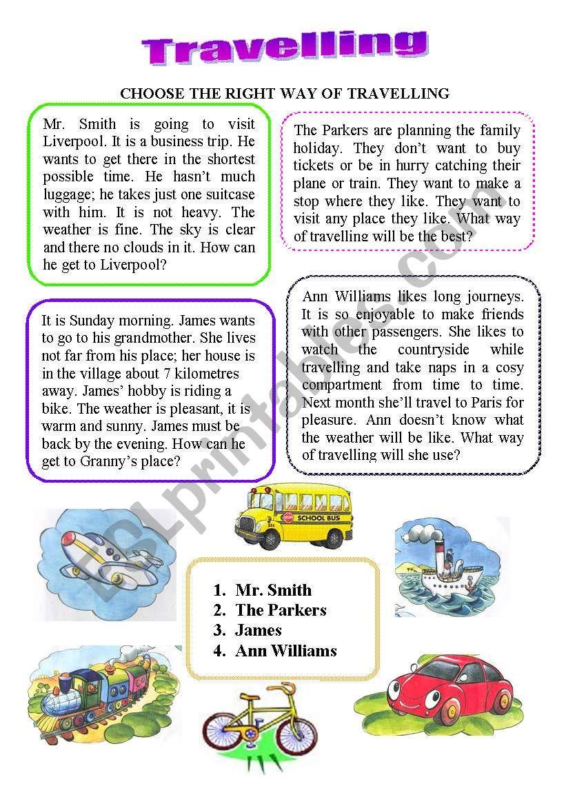 Travelling. Reading worksheet