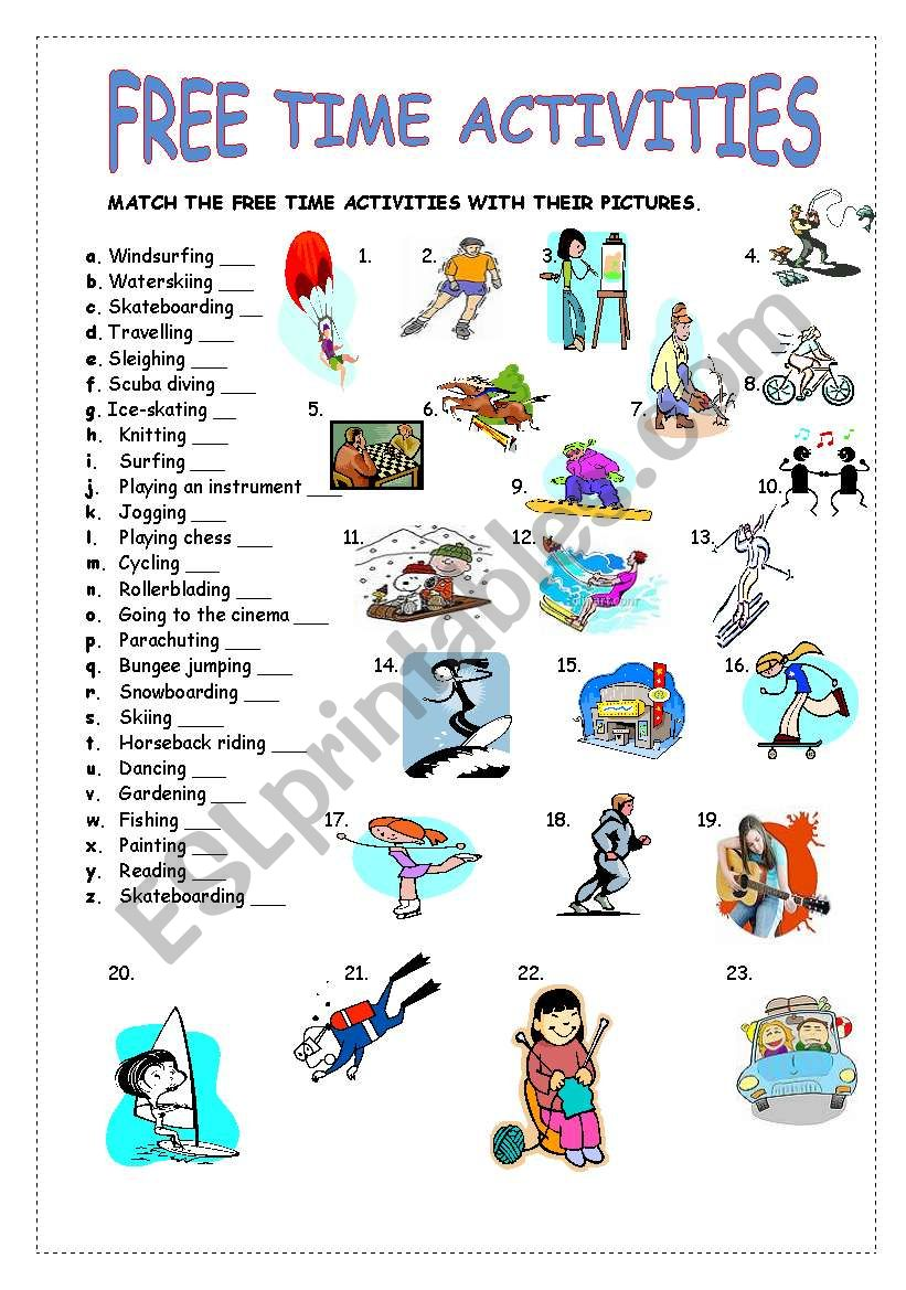 FREE TIME ACTIVITIES worksheet