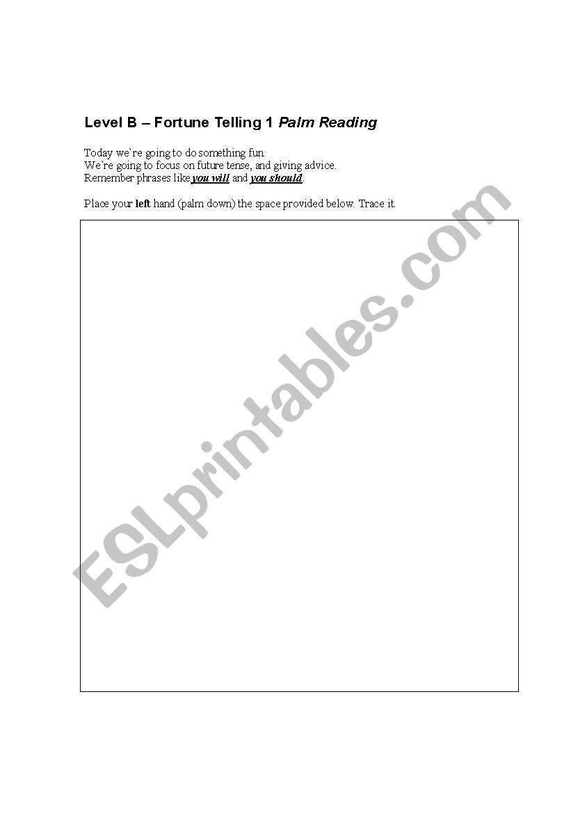 Palm Reading/ Future Tense worksheet