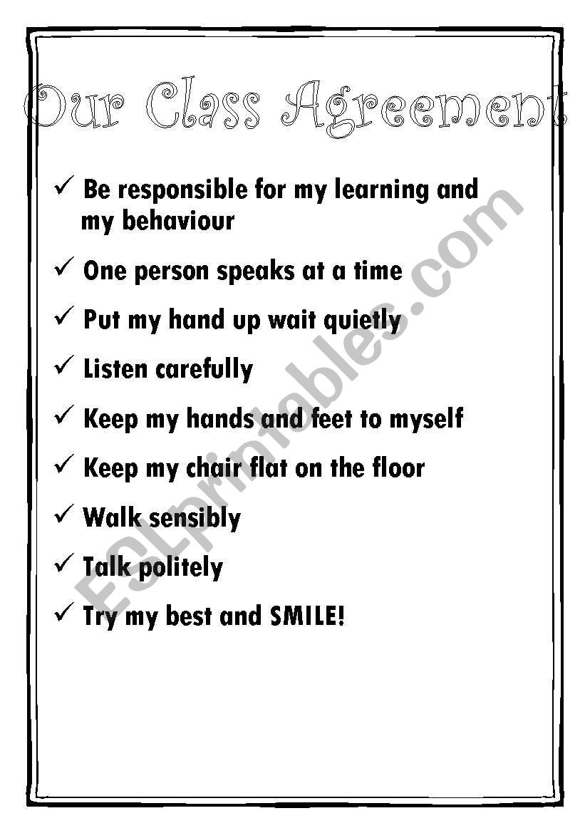 Class Behaviour Agreement Esl Worksheet By Jabinda81