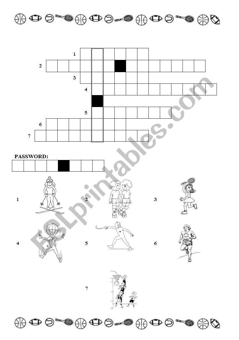 sports- crossword worksheet