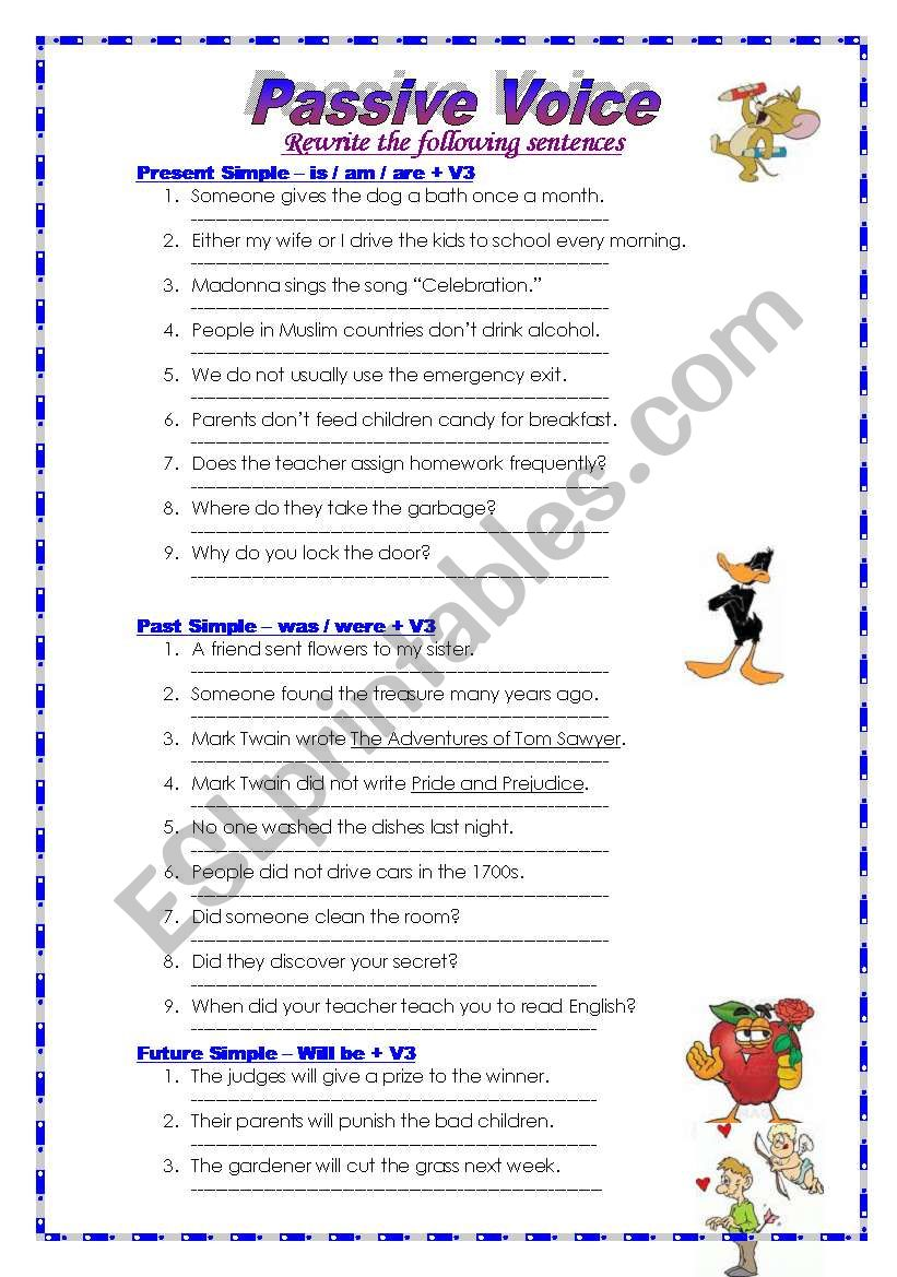 Passive Voice - All Tenses worksheet