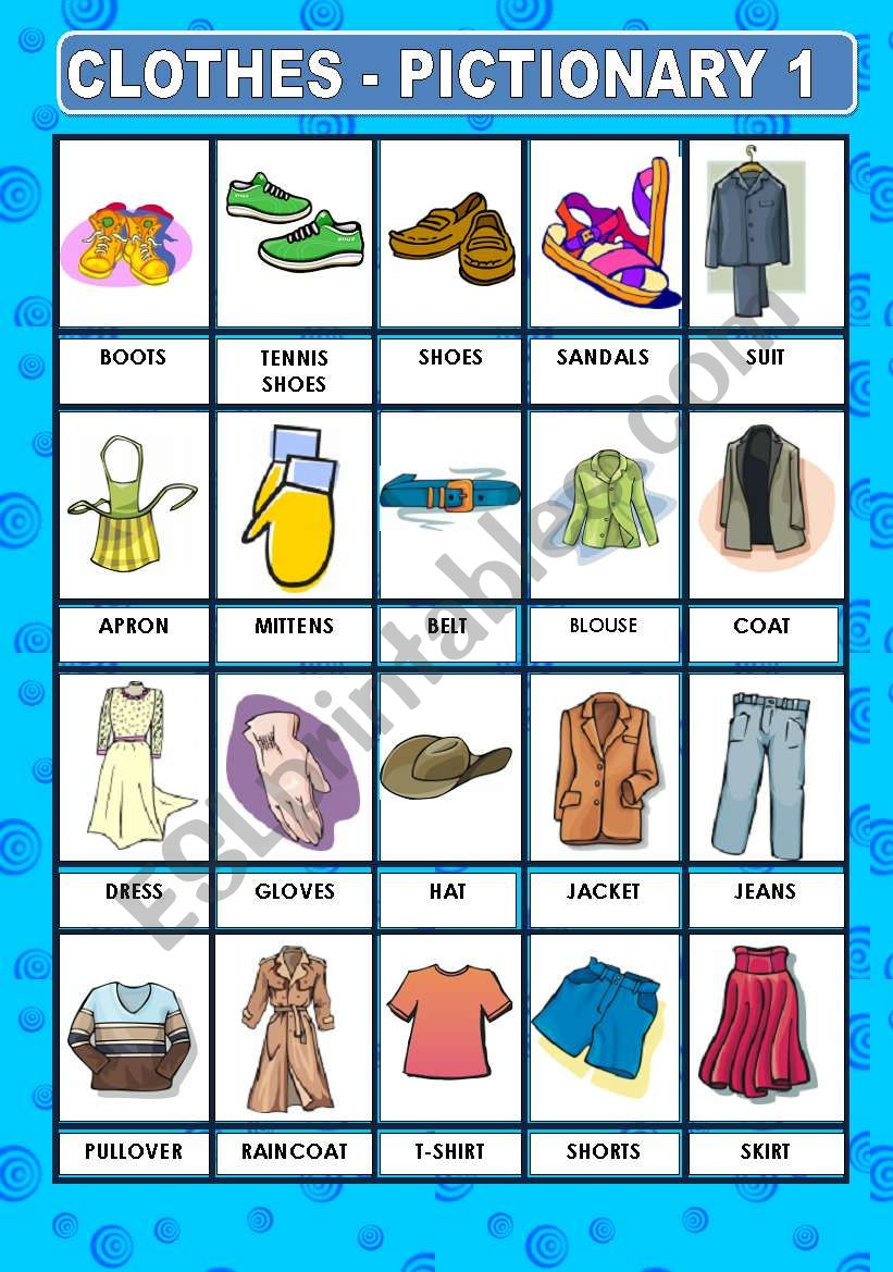 CLOTHES- PICTIONARY worksheet