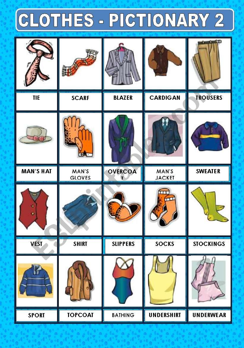 CLOTHES- PICTIONARY 2 worksheet
