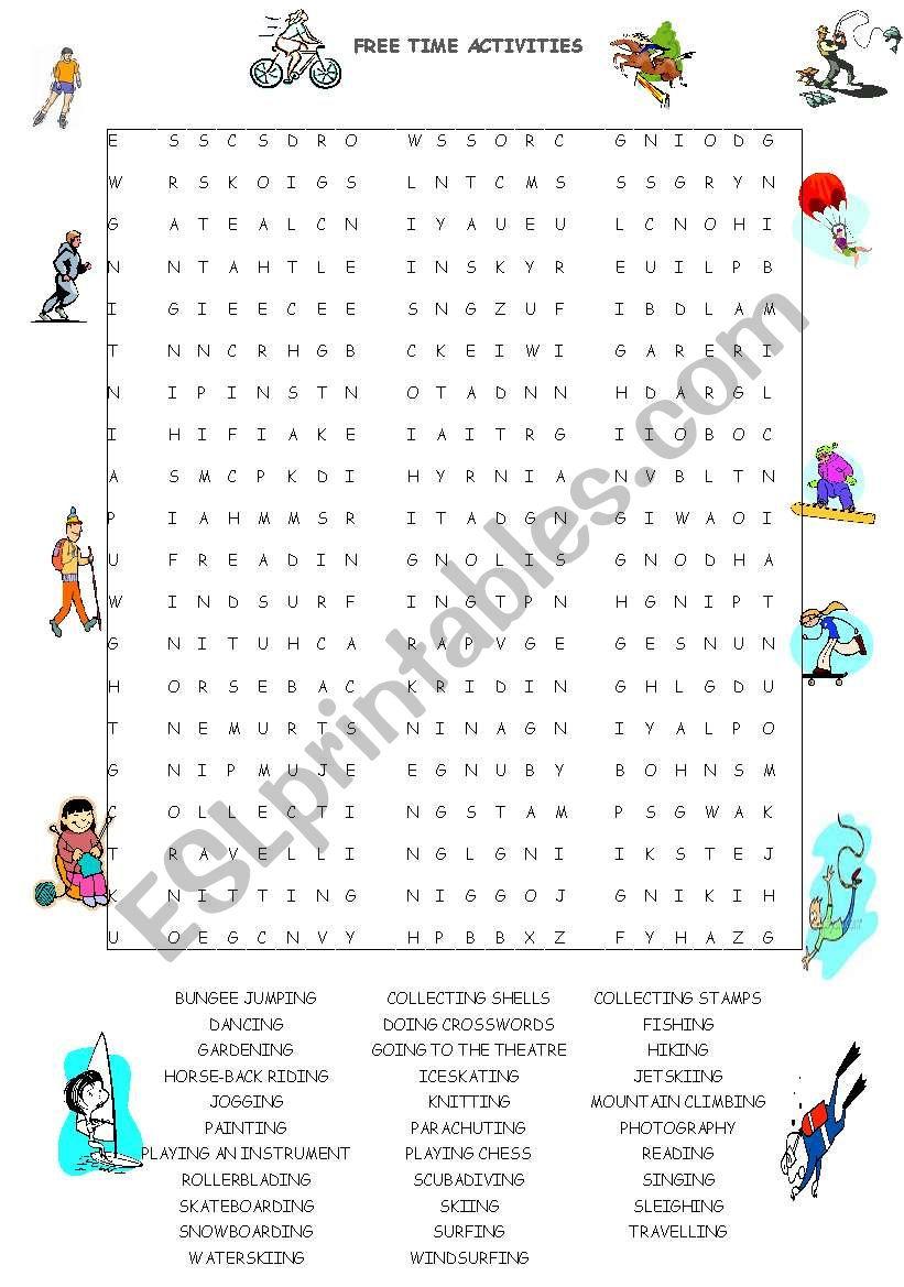 free time activities wordsearch esl worksheet by guveri. Black Bedroom Furniture Sets. Home Design Ideas