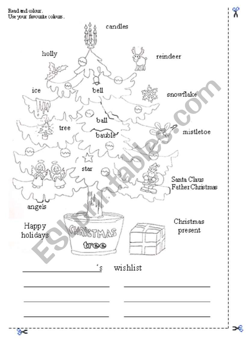 Christmas Tree Coloring Page Esl Worksheet By Francescopio