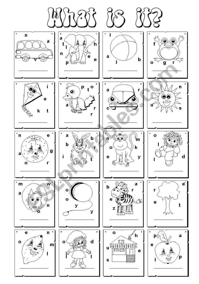 What is it? - ABC illustrated worksheet