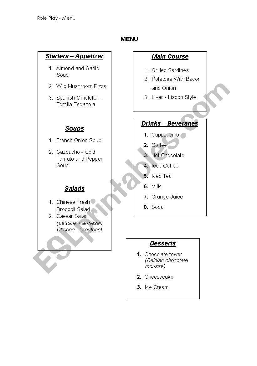 Role play - Menu worksheet