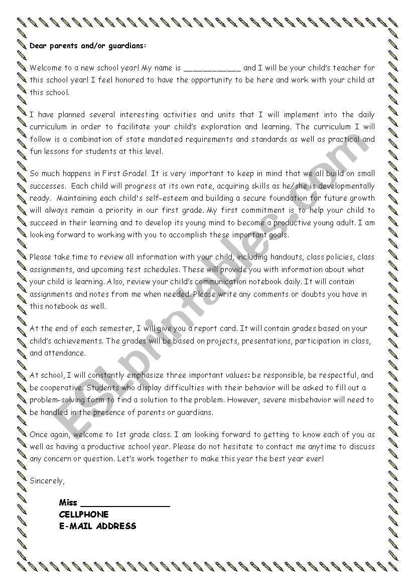 LETTER TO PARENTS - ESL worksheet by cricia
