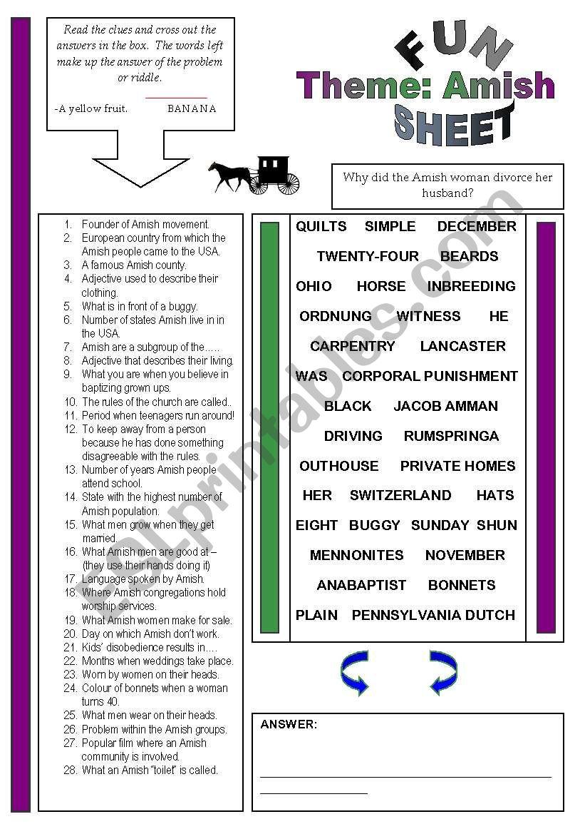 Fun Sheet Theme: Amish worksheet