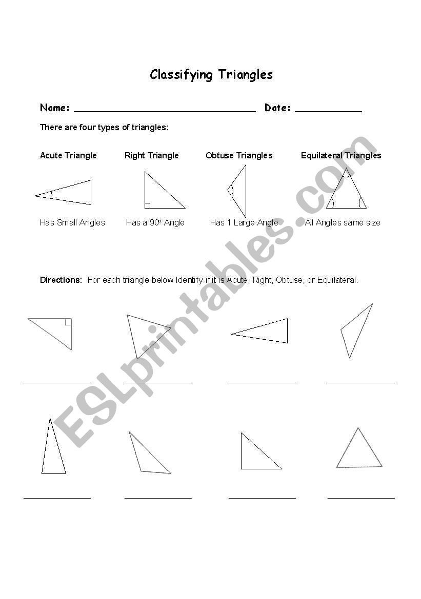 English Worksheets Classifying Triangles