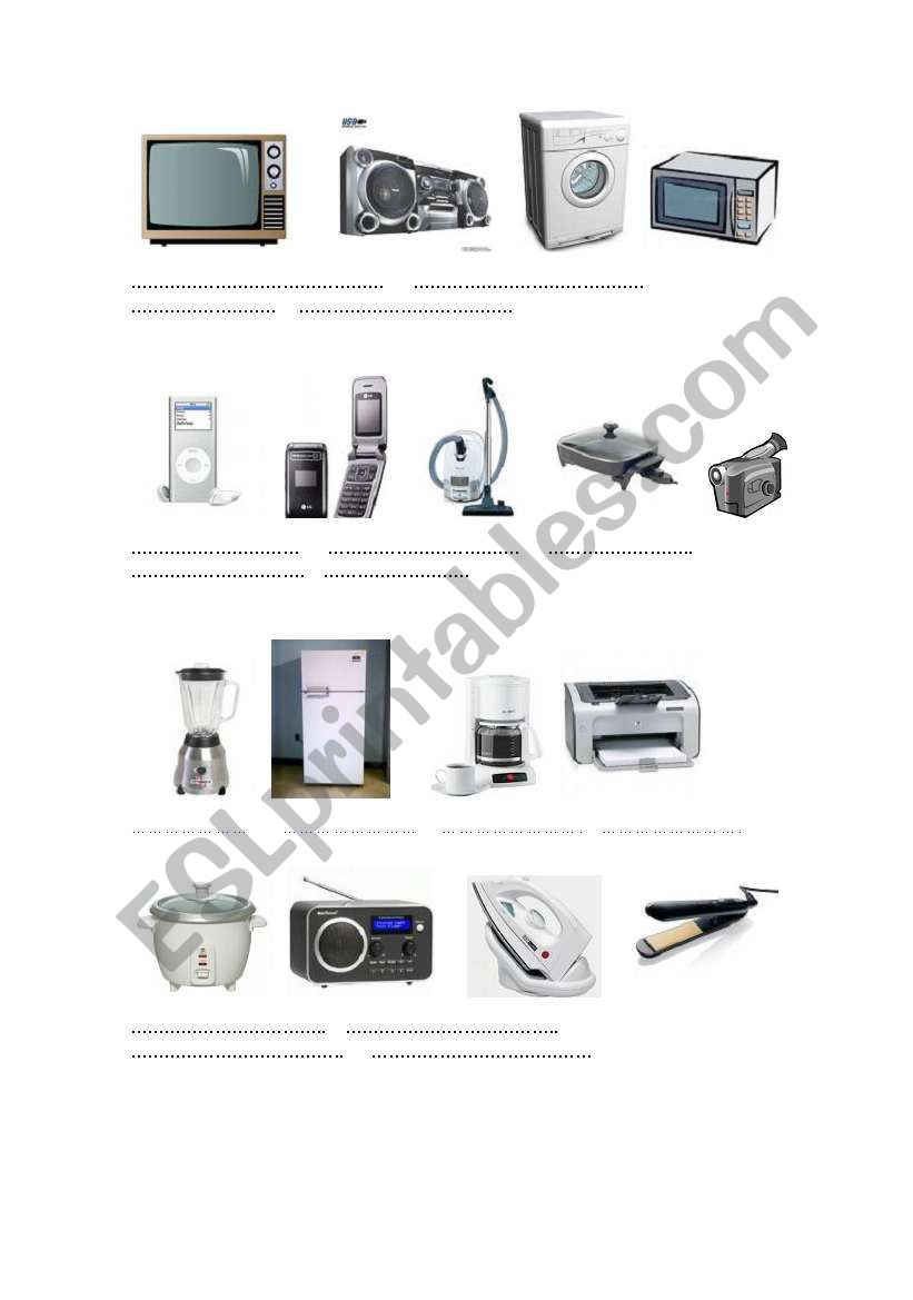ELECTRICAL APPLIANCES worksheet