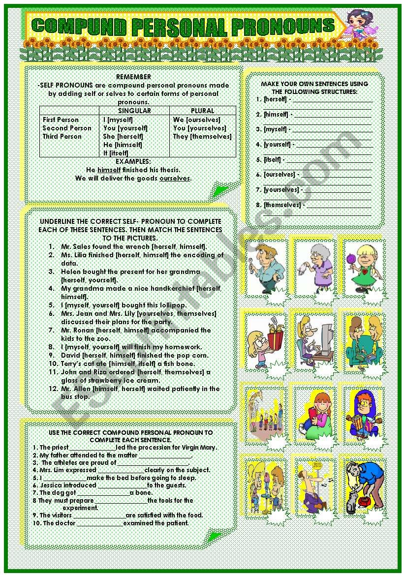 Compound Personal Pronouns Esl Worksheet By Mavic15