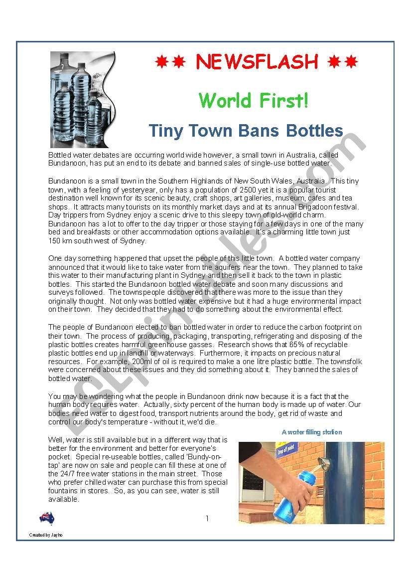 WORLD FIRST: Tiny Town Bans Bottled Water