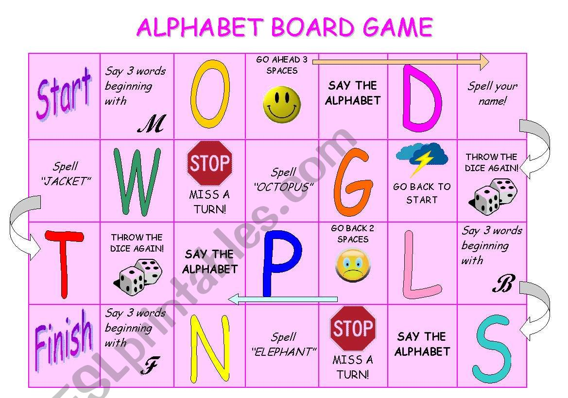 graphic regarding Alphabet Games Printable titled Alphabet board activity - ESL worksheet via stefania.r