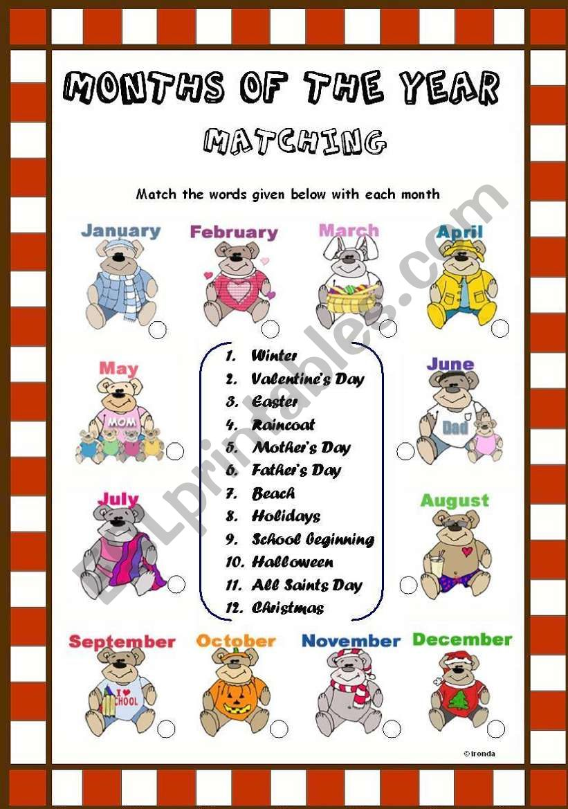 MONTHS OF THE YEAR MATCHING  worksheet