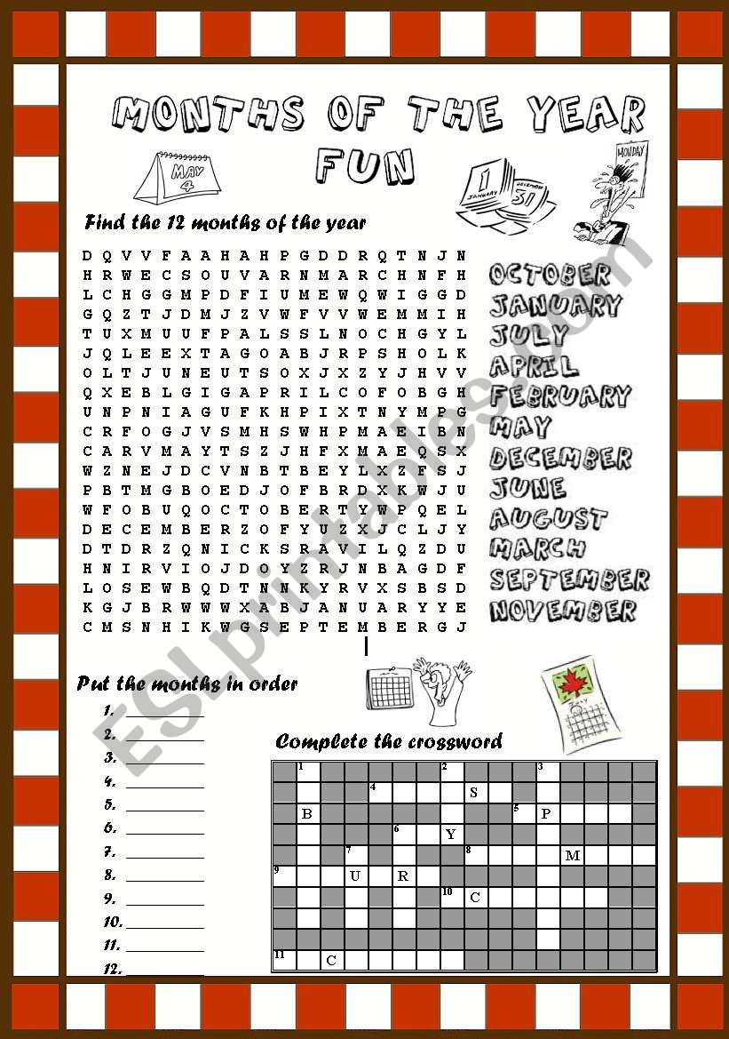 MONTHS OF THE YEAR FUN I worksheet