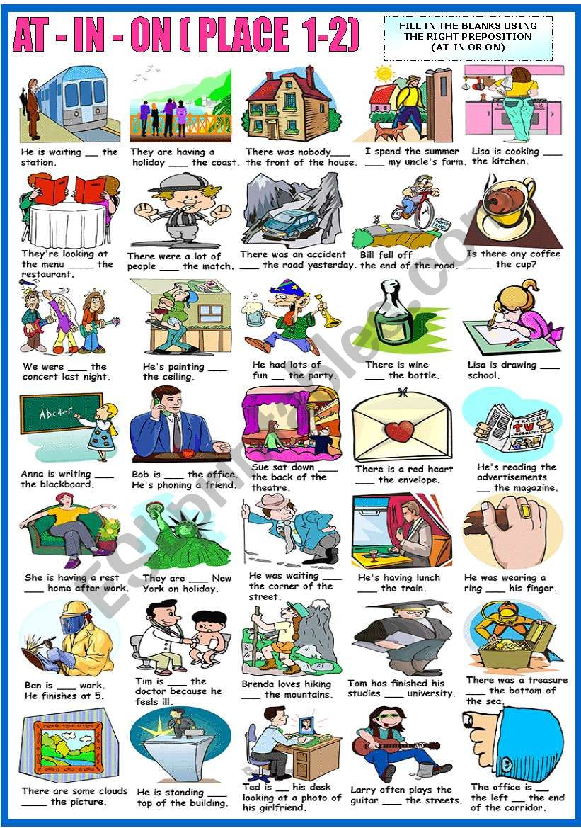 AT - IN - ON - PREPOSITIONS OF PLACE-EXERCISES (1-2) (B&W VERSION INCLUDED)